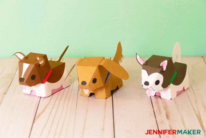 Make paper dog & puppy boxes in all different kinds of breeds -- shown here is the Border Collie, Golden Retriever, and Alaskan Malamute