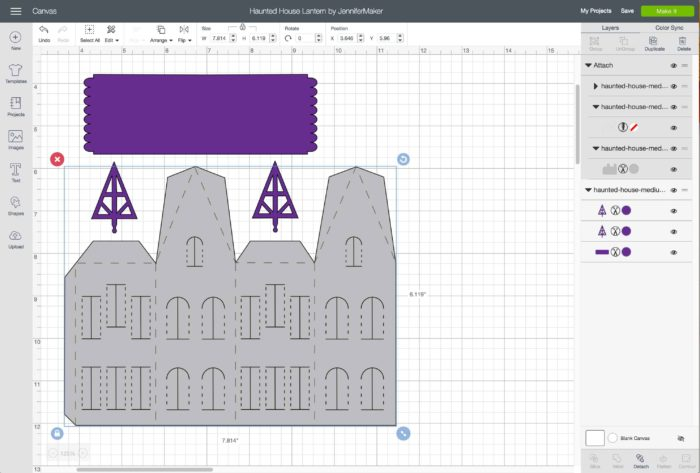 Upload the SVG cut file to Cricut . Design Space to make paper haunted houses and a village
