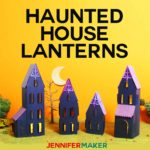 Make Paper Haunted House Lanterns with this free pattern and tutorial #halloween #papercraft #cricut #cricutexplore #crafts #spooky #halloweendecor