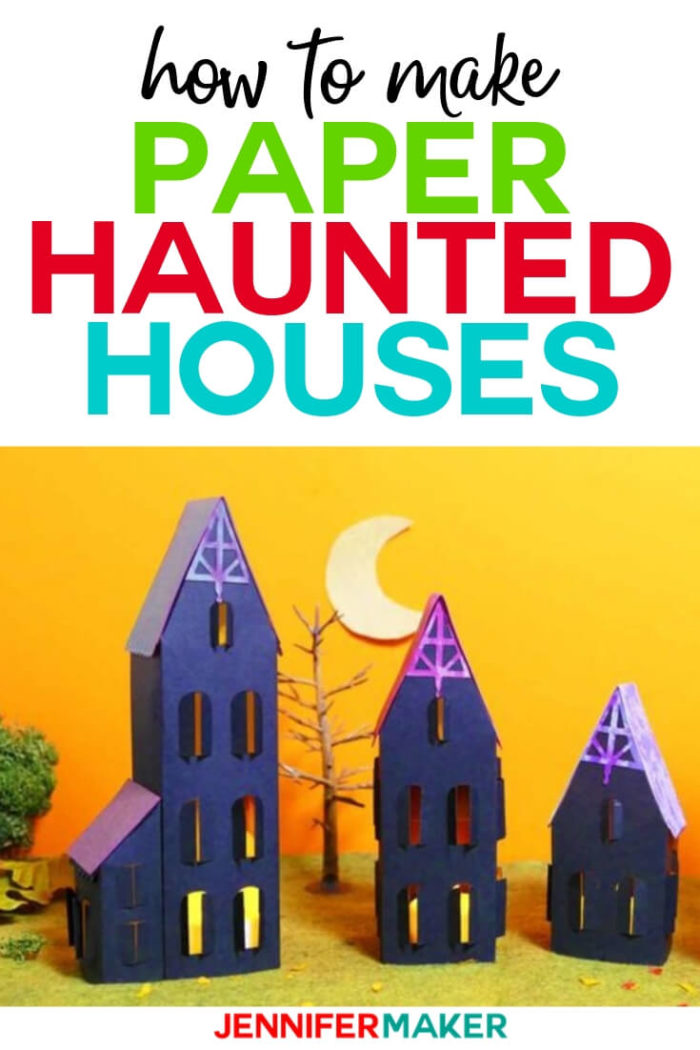 Learn how to make this paper haunted house and turn it into a custom-designed haunted mansion or even an entire village! You can mix-and-match buildings to create your own Halloween creation!  #cricut #cricutmade #cricutmaker #cricutexplore #svg #svgfile