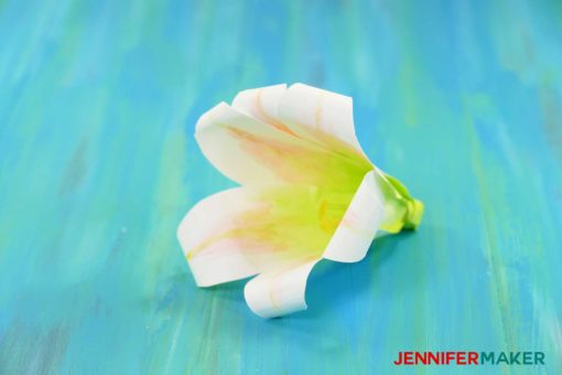 Closeup of Paper Lily Flowers to Celebrate Easter with free SVG files and PDF patterns #cricut #paperflowers
