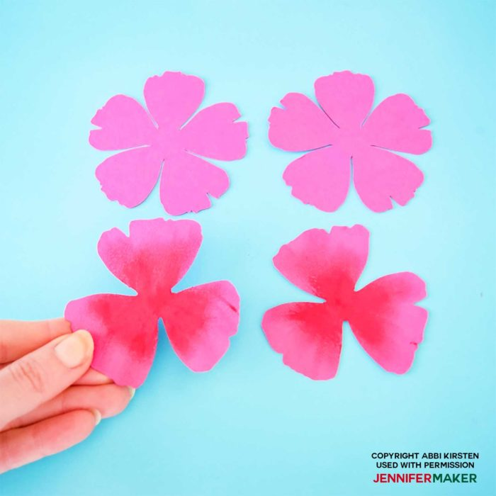 Colored paper petals with oil pastels to make paper poppies