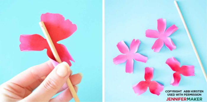 Curl the paper petals to make paper poppies