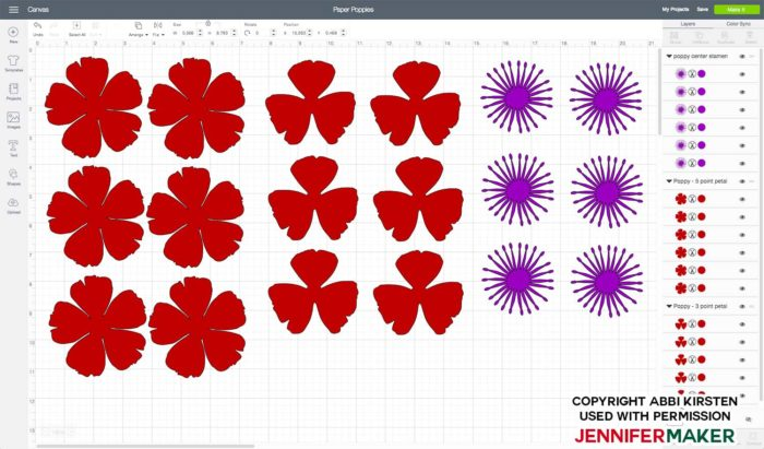 Make paper poppies by uploading the SVG file to Cricut Design Space