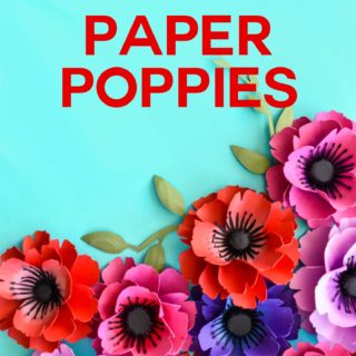 Make Paper Poppies with this free template in SVG and PDF - a fun papercraft project for Memorial Day, Veterans Day, and Remberance Day #svgcutfile #cricut #paperflowers #veteransday