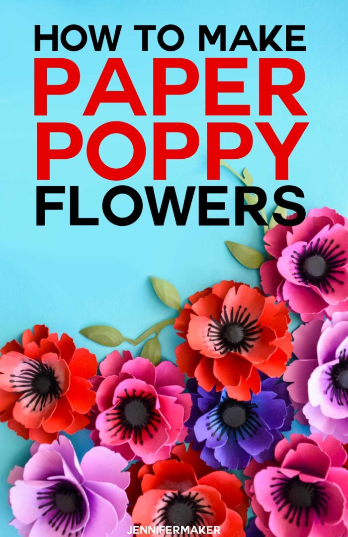 Make Paper Poppies with this free paper flower template in SVG and PDF - a fun papercraft project for Memorial Day, Veterans Day, and Remberance Day #svgcutfile #cricut #paperflowers #veteransday