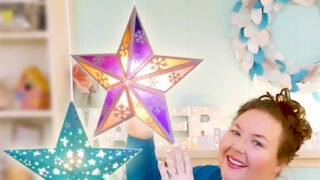 Make Paper Star Lanterns with Cut-Outs and Snowflakes on your Cricut Explore Make with my Free SVG Cut File #homedecor #christmasstar #cricut