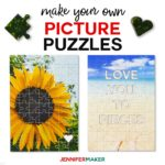 Make picture puzzles on a Cricut with these free templates, including a hidden message puzzle #cricut #puzzle #svgcutfile #diygifts