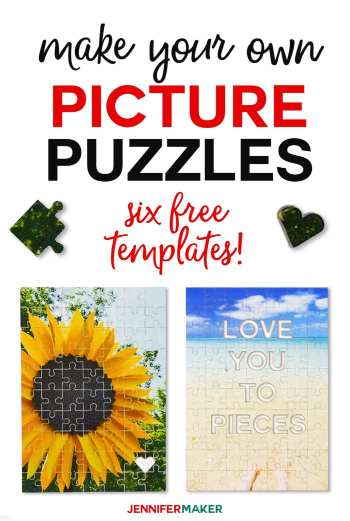 Make personalized picture puzzles on a Cricut with these free templates, including a hidden message puzzle #cricut #puzzle #svgcutfile #diygifts