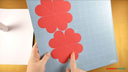 My cut cardstock on my Cricut cutting mat for my Pop Up Heart Card