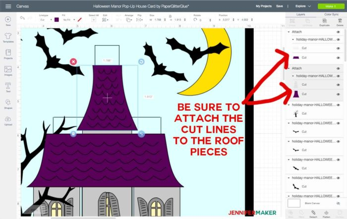 Attaching layers in Cricut Design Space to make a halloween house card
