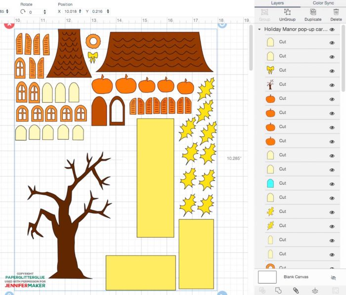 Upload the SVG cut file to Cricut Design Space to make a pop-up house card for Halloween or Christmas