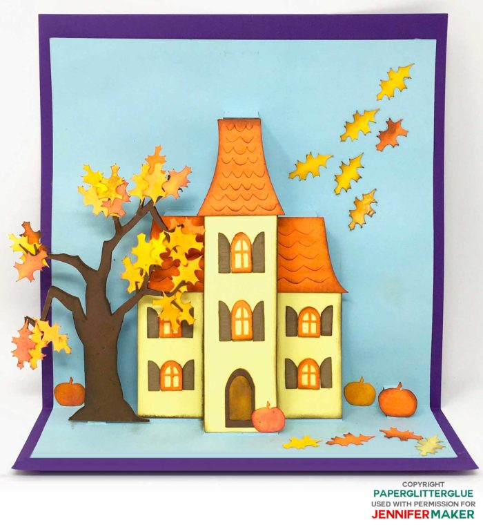 Fall/Autumn Pop-Up House Card also works great for Thanksgiving