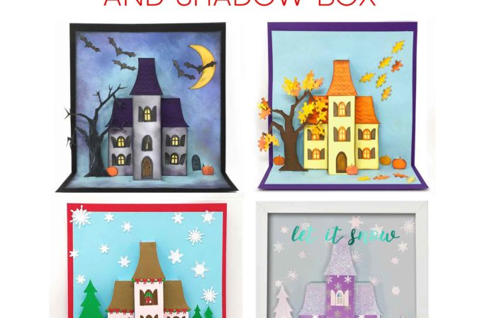Make a Pop-Up House Card Holiday Manor for Halloween, Autumn, or Christmas! | Free pattern and SVG cut file #cricut #cardmaking #halloween #christmas #svgcutfile