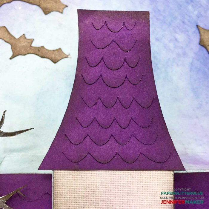 Using distress inks to decorate the roof in the Halloween Manor pop-up house card