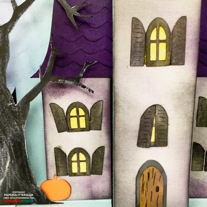 Close-up up a haunted house pop-up card for Halloween