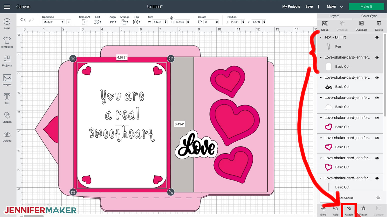 Attaching a draw layer to a base layer to make the shaker card with writing