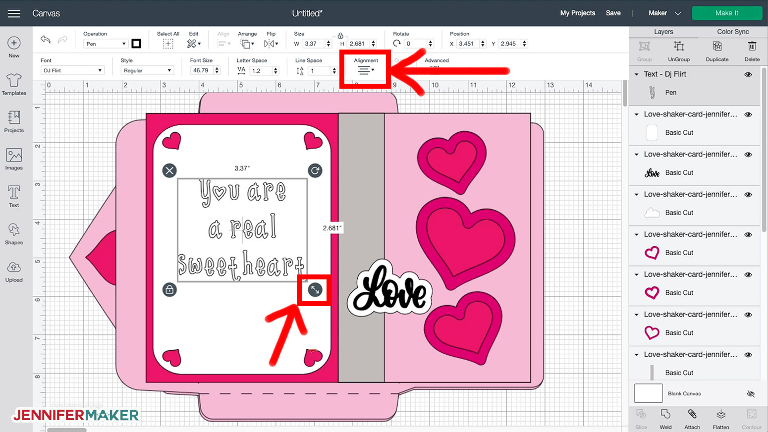 Resizing and realigning the text for the Shaker Card in Cricut Design Space