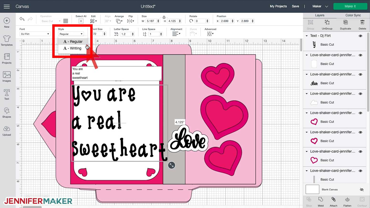 Choosing the font style in Cricut Design Space