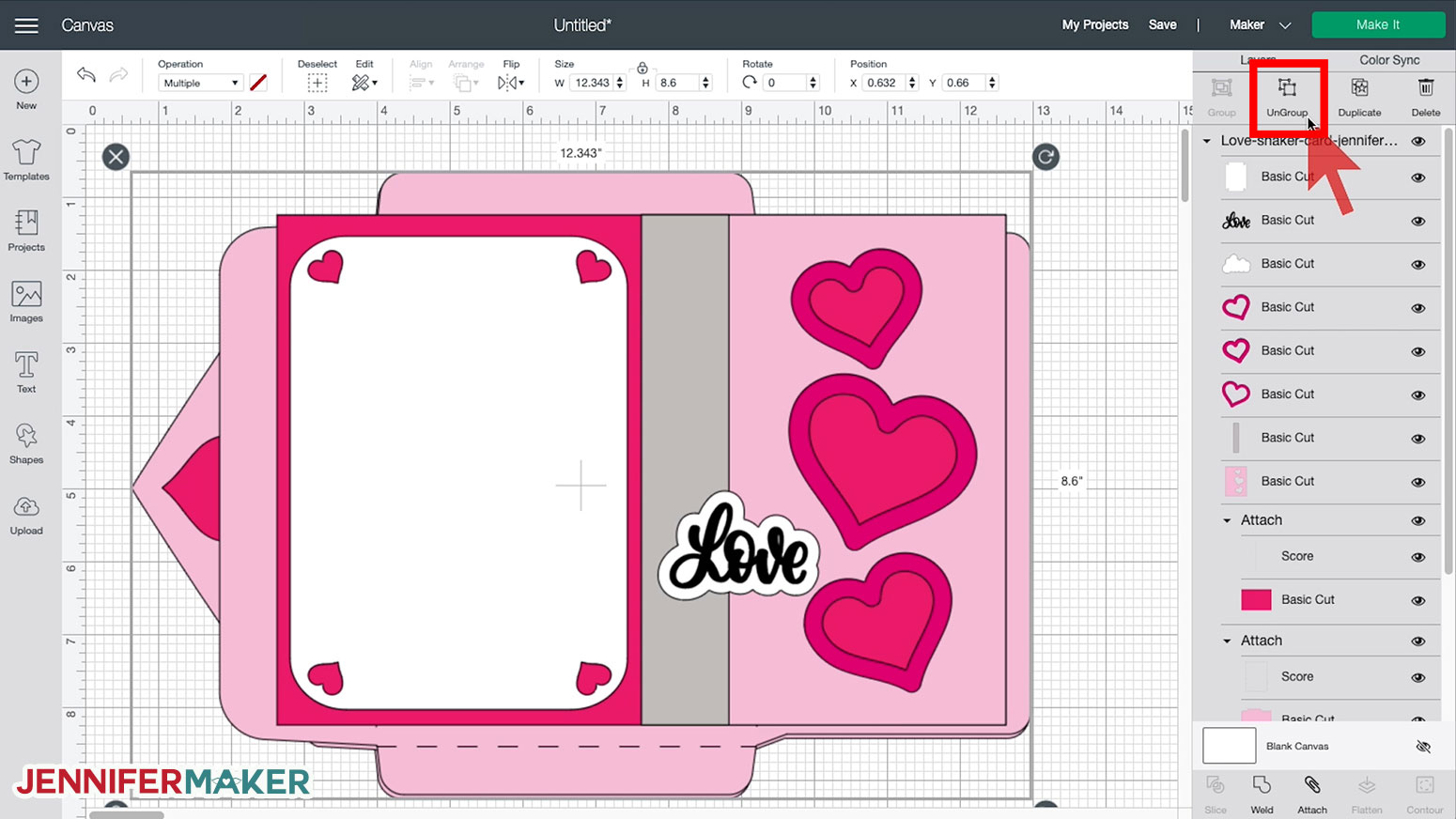 Shaker Card svg cut file uploaded to Cricut Design Space
