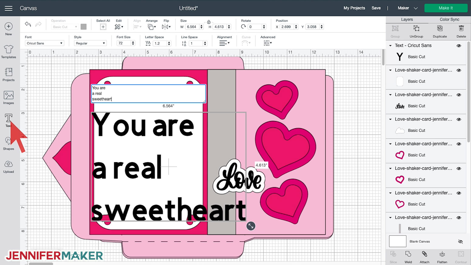 Typing text onto the Shaker Card in Cricut Design Space