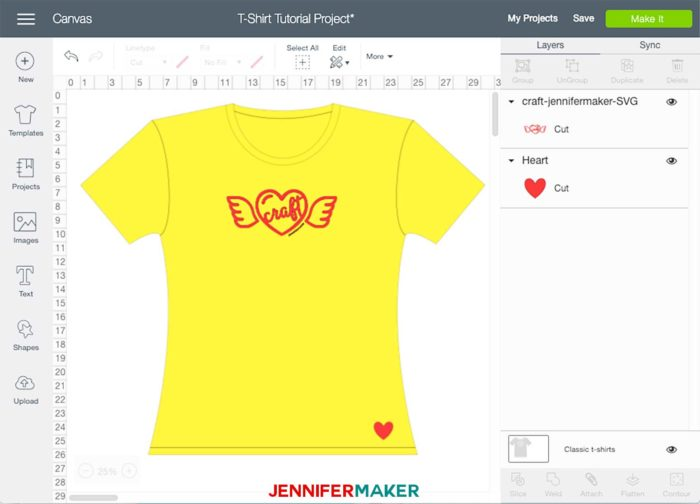 A yellow and red iron-on T-shirt design in Cricut Design Space