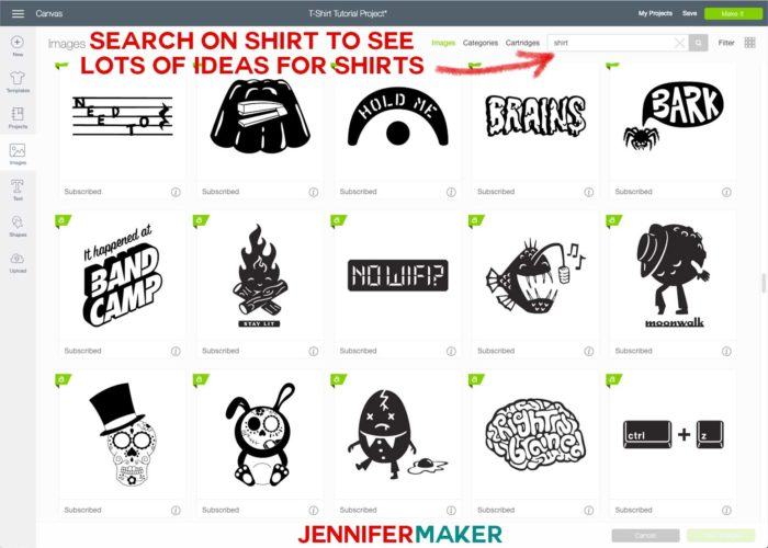 Finding t-shirt design ideas in Cricut Design space to make a iron-on t-shirt with a Cricut