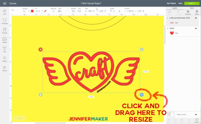 Resizing an image for a iron-on T-shirt in Cricut Design Space