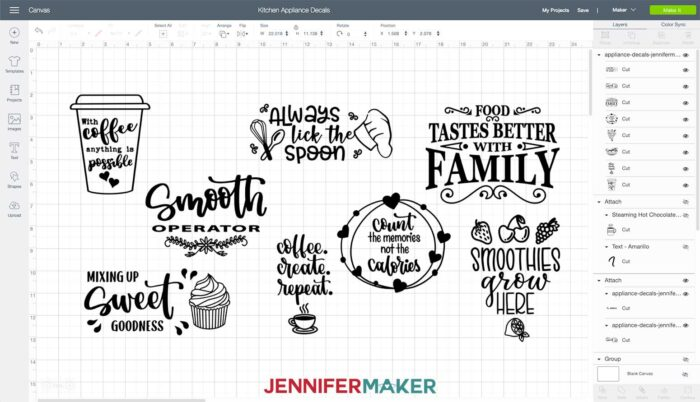 Kitchen appliance decal designs uploaded to Cricut Design Space to make vinyl decals for Instant Pot and KitchenAid Mixer