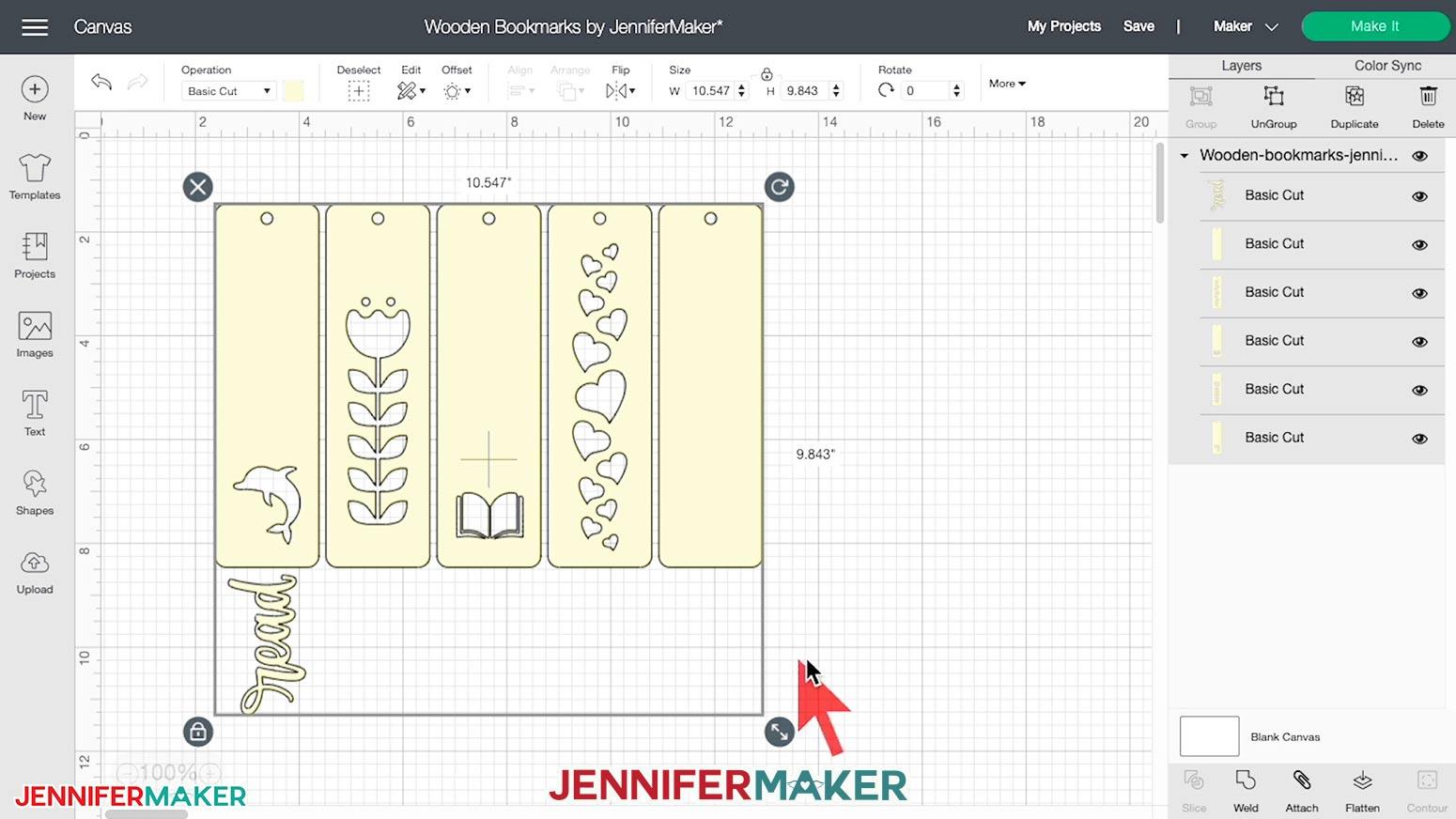 Wooden Bookmark SVG cut file in Cricut Design Space