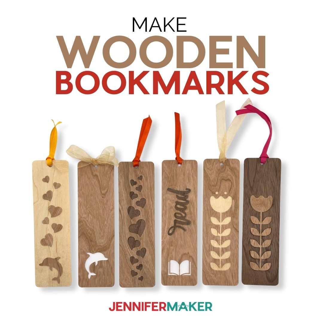 Make Wooden Bookmarks on a Cricut cutting machine with wood veneer and our free SVG cut file
