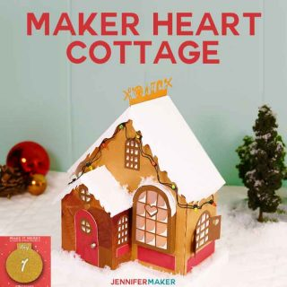 3d paper village craft cottage | maker heart cottage papercraft | christmas craft | mrs clause | free cricut svg cut files