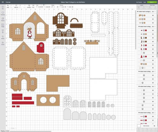 Upload the svg cut file to Cricut Design Space to cut out the Maker Heart Cottage paper village house