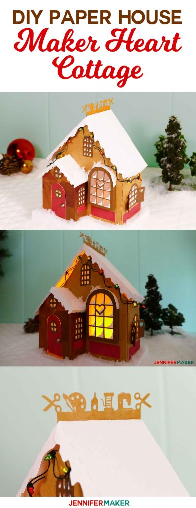 DIY Papr House Craft Cottage | 3d paper village craft cottage | maker heart cottage papercraft | christmas craft | mrs clause | free cricut svg cut files
