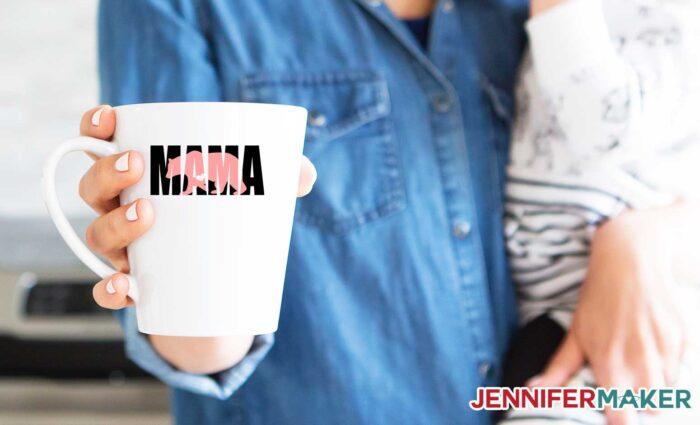 White mug with two-color mama bear decal - this SVG cut file is a great Cricut mug idea