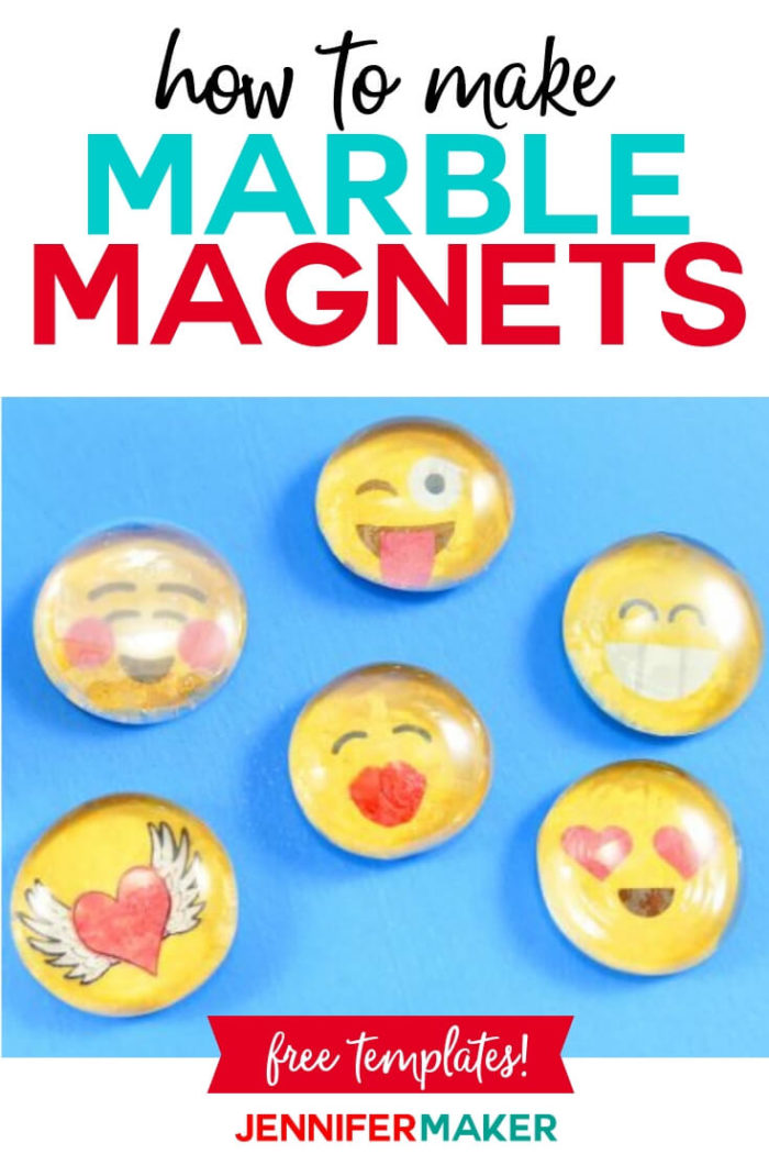 Learn how to make your own marble magnets with a little Mod Podge and my free printable Emoji sheet. This project is super easy and a fast craft that puts a little fun on your fridge! #papercrafts #papercrafting #diy #tutorial #craftprojects