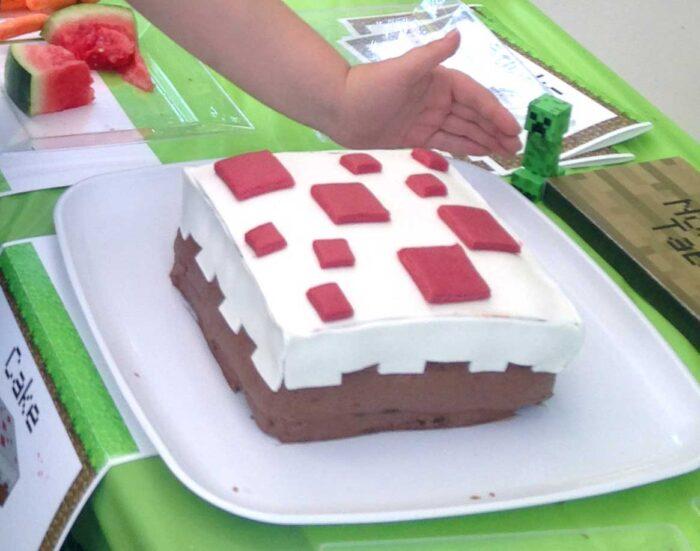 Minecraft party cake