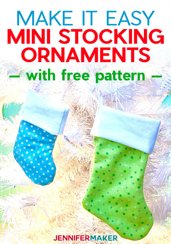 Make Mini Stocking Ornaments with Loops with a free pattern and SVG cut file — includes a lining and functional cuff! #sewing #cricut #christmas