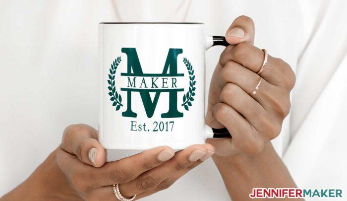 """Split monogram """"M"""" design in vinyl on a white ceramic mug - made on a Cricut!"""