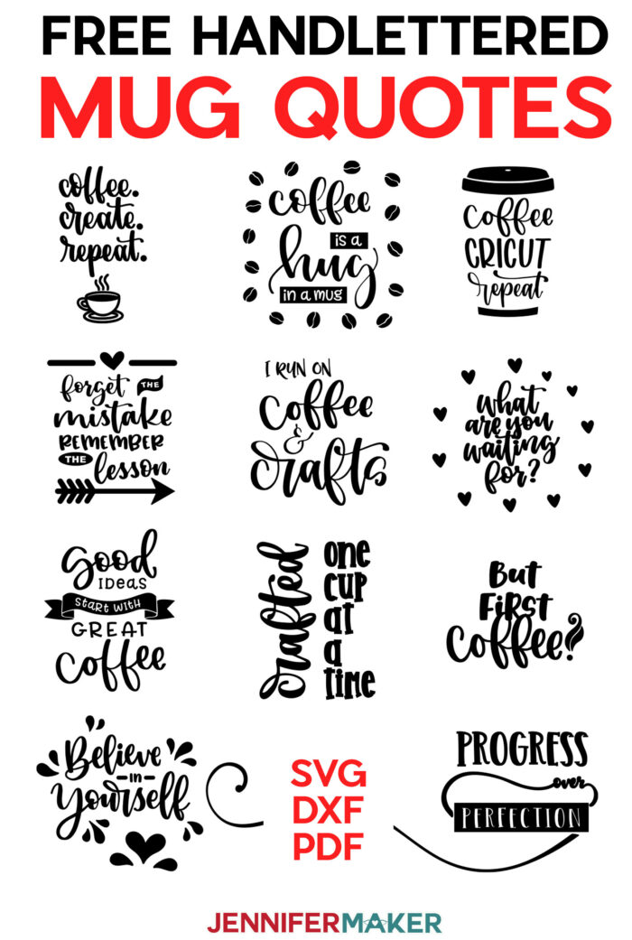 Coffee quote sayings for Infusible Ink mugs - free SVG cut files