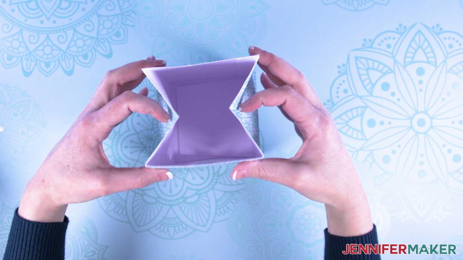 Fold in sides of milk carton mug gift boxes