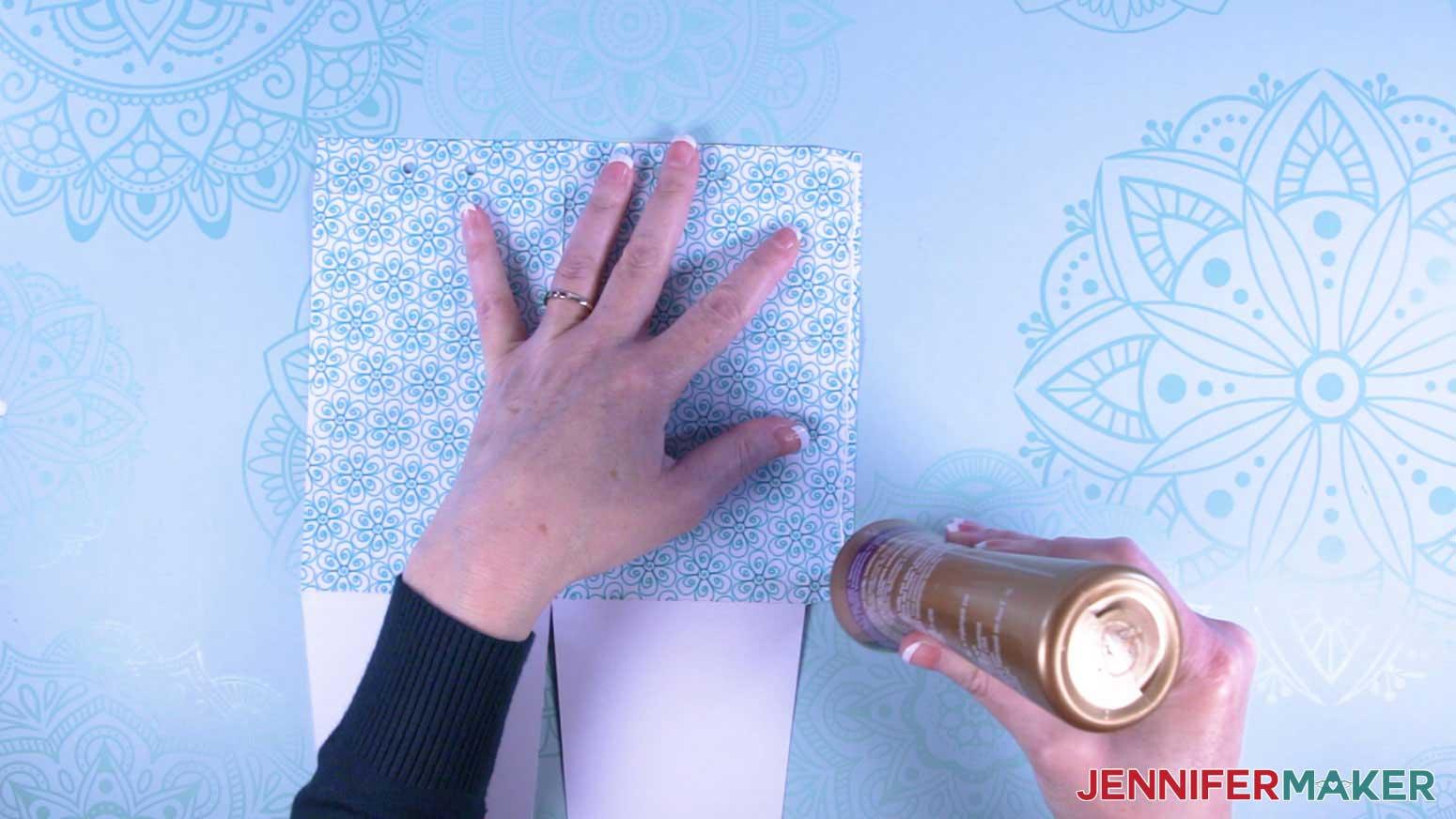 Apply glue to tab of milk carton mug gift box