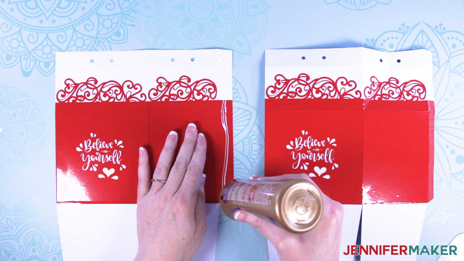 Apply glue to the section tabs of the milk carton mug gift boxes