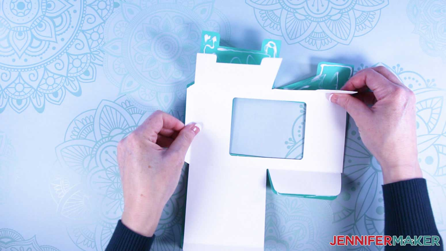Attach layers of mug gift box with a window