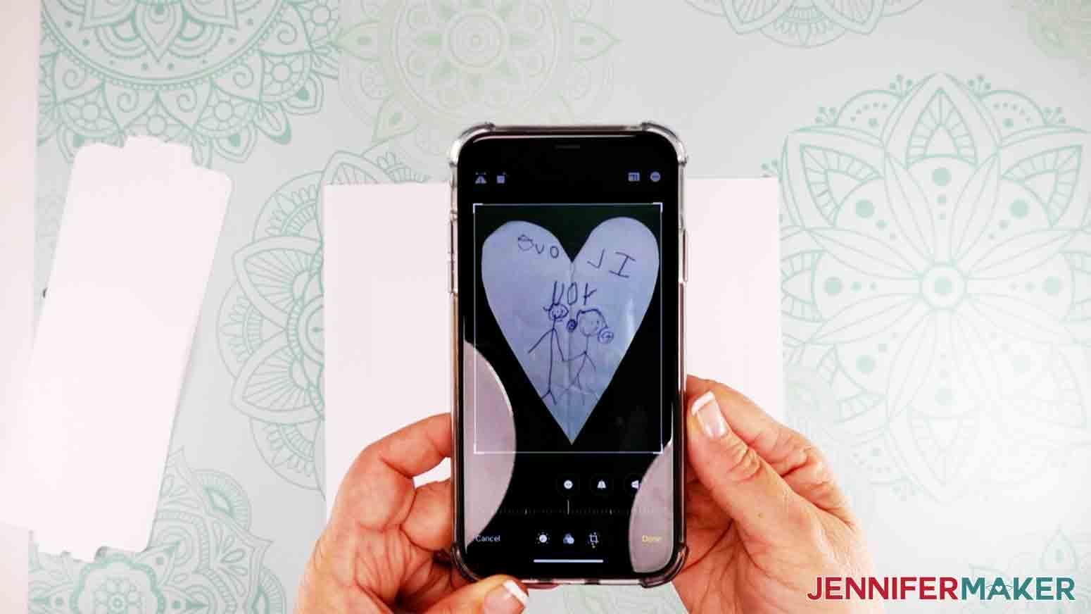 closeup shot of artwork on iphone