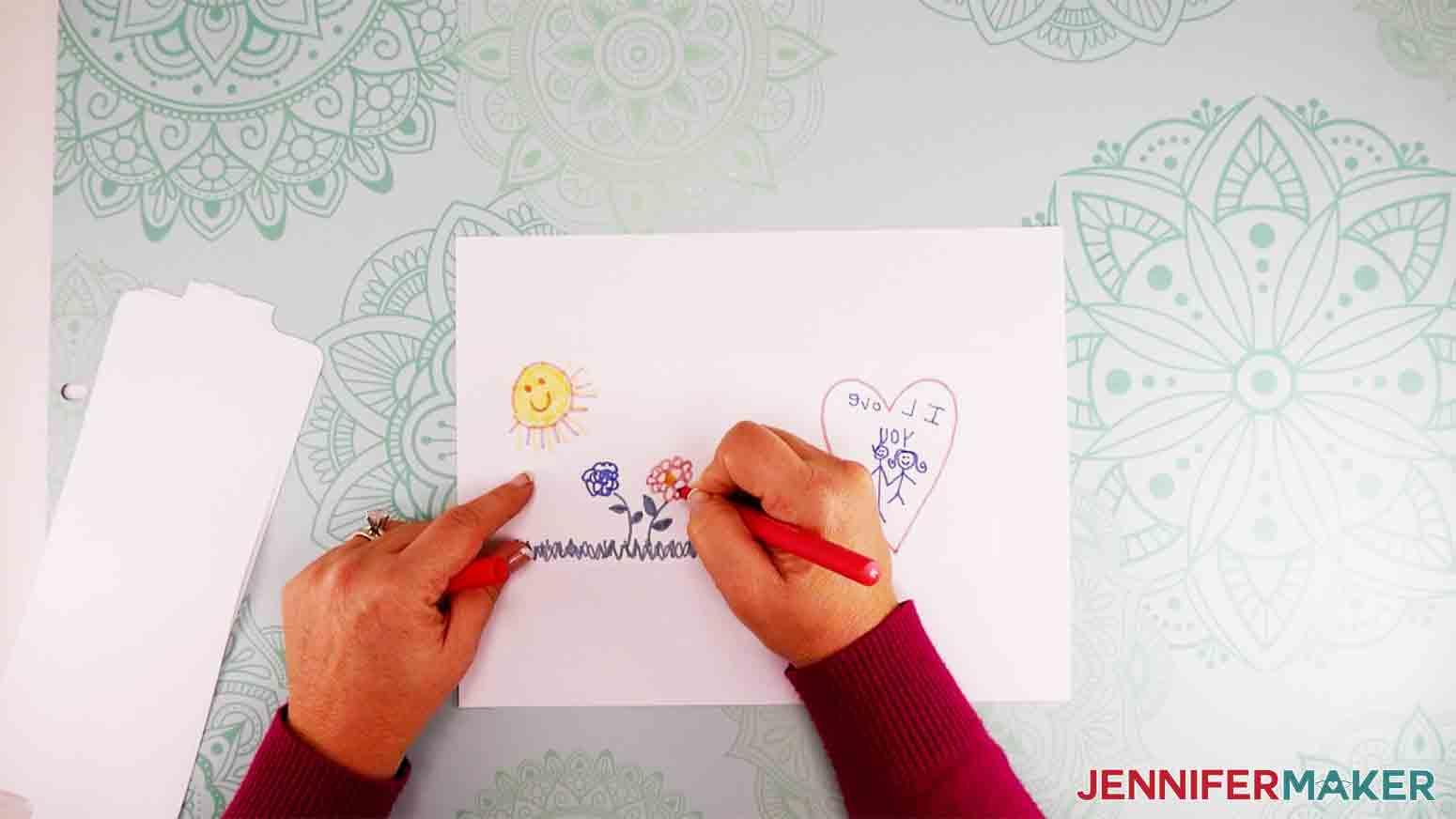 show second hand drawing on kid artwork mug