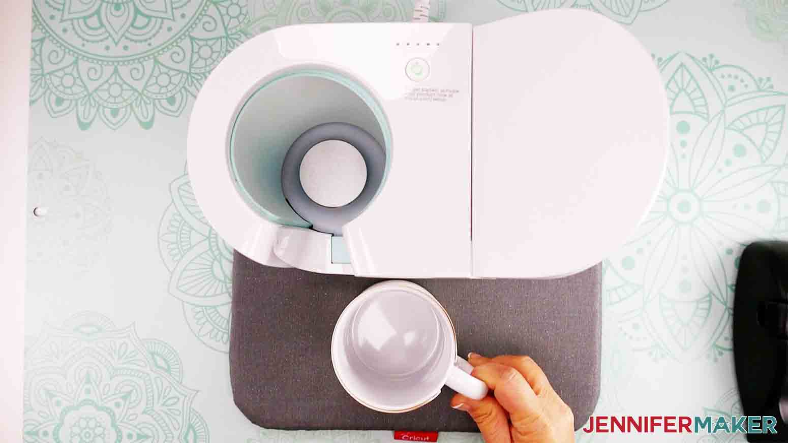place mug on heat pad to cool