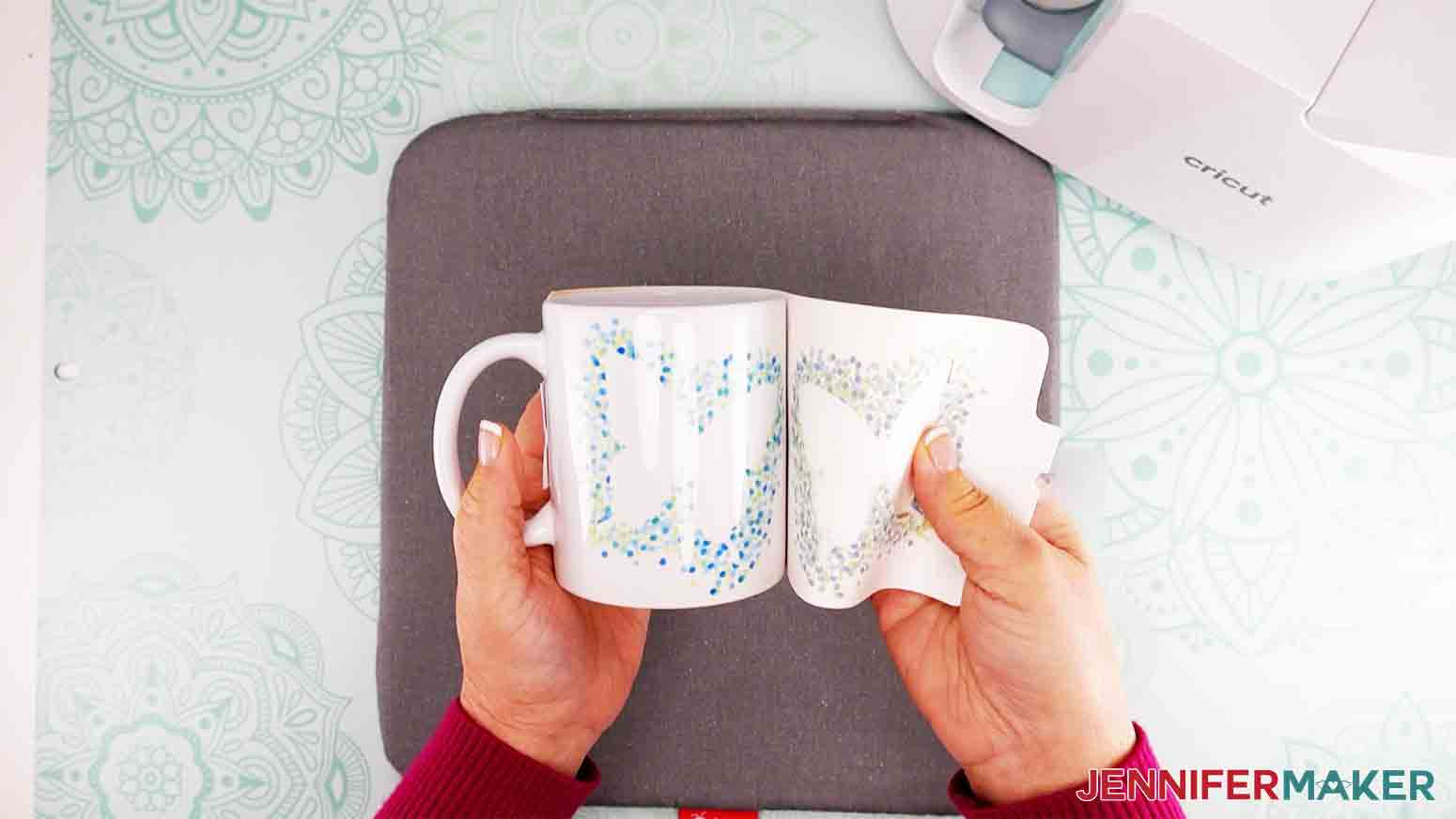 peel off wrap to reveal butterfly mug