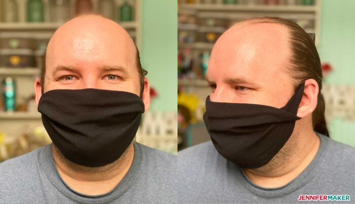 No-sew face mask made from a T-shirt in black 100% cotton and twisted at the ears