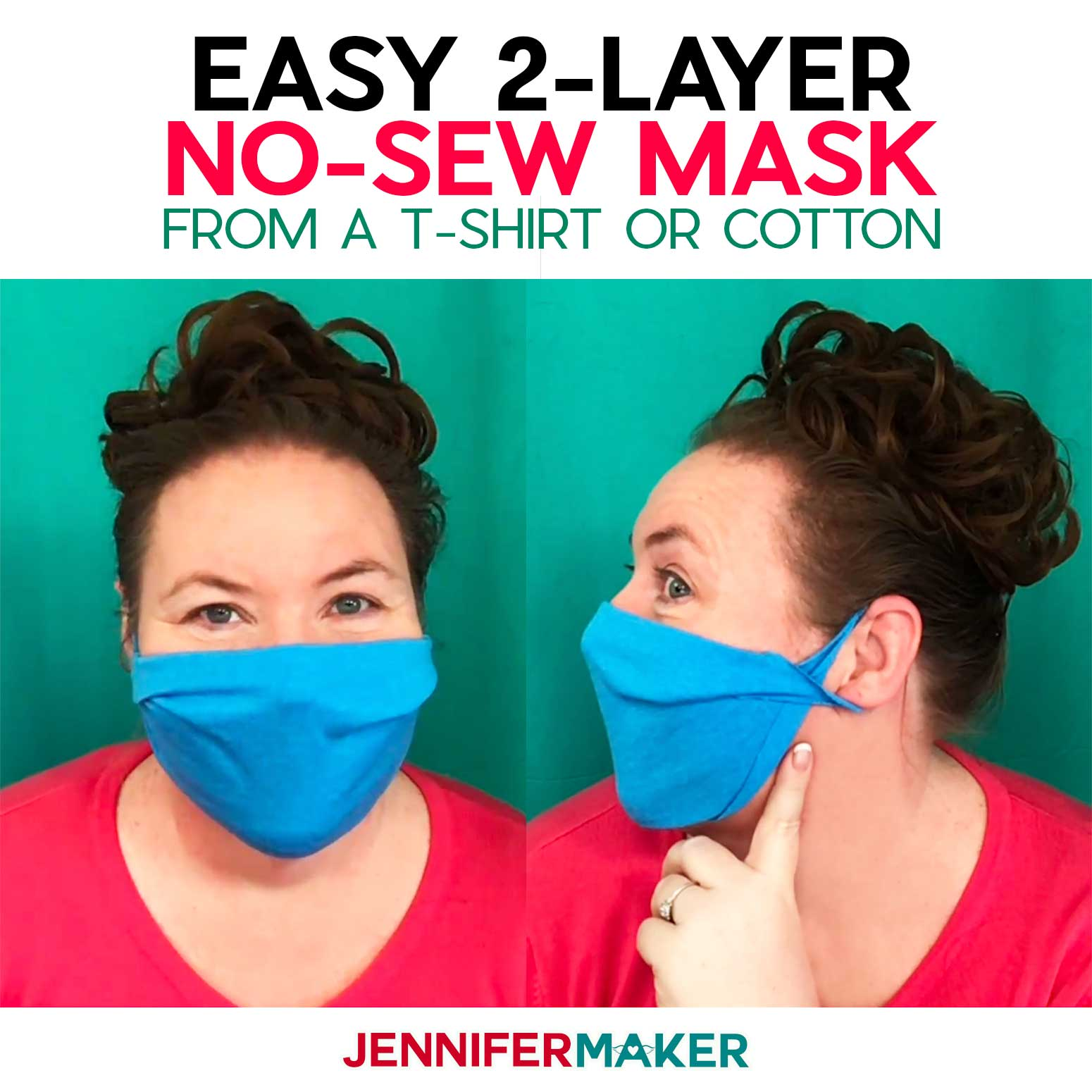 Make a no-sew face mask from a T-shirt or woven cotton without elastic or ties -- super easy and fast with free pattern and SVG cut file for a Cricut!